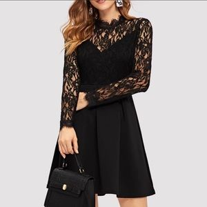 Dresses & Skirts - Black floral embroidered long sleeve lace dress